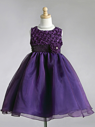 Purple Ribbon Embroidered Rosebuds with Tulle Skirt