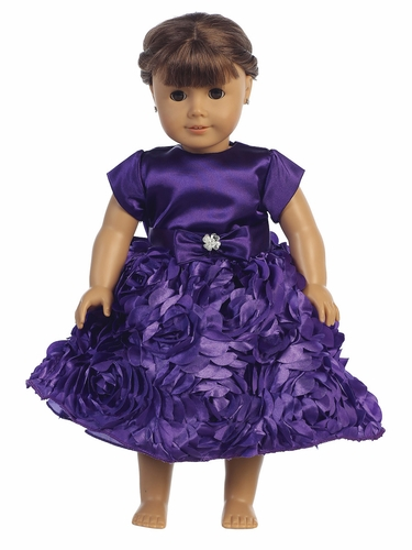 "Purple Satin Bodice w/ Floral Ribboned Skirt 18"" Doll Dress"