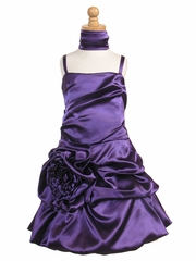 Purple Satin Bubble Dress w/ Gathered Flower & Shawl