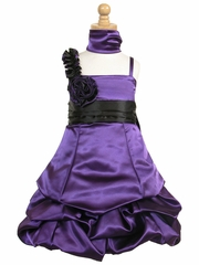 Purple Satin Gathered Bubble Dress w/ Two Tone Flower