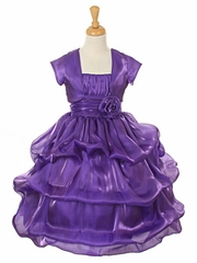 Purple Satin Organza Pickup Dress w/ Gathered Top & Bolero