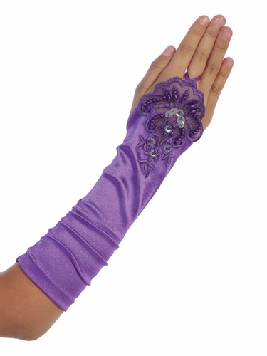 Purple Long Satin Ruched Girls' Glovettes w/ Lace