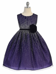 CLEARANCE - Purple Shimmering Holiday Dress w/ Velvet Flower Sash