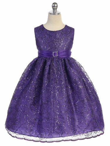 Purple Sequins Cord Netting Dress w/ Organza Sash