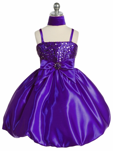 Purple Sequins Dress on Satin w/Shawl