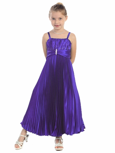 Purple Shiny Satin Pleated Long Dress