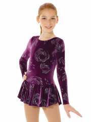 Mondor Purple / Silver Print Born To Skate Glitter Velvet Dress