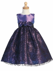 Purple Sleeveless Flocked Tulle Dress w/Glitter