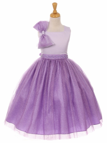 Purple Sparkle Tulle Bow Dress