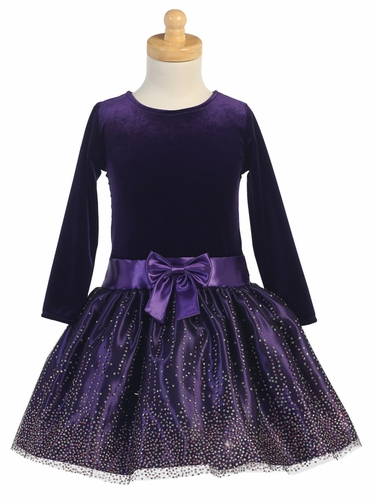 Purple Stretch Velvet w/ Sparkling Tulle Dress