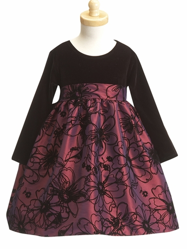 Purple Flower Girl Dress - Stretched Velvet Bodice w/ Flocked Taffeta Skirt