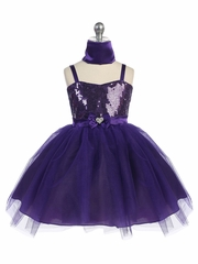 Purple Sweet Heart Sequin Bodice w/ Crystal Tulle Skirt