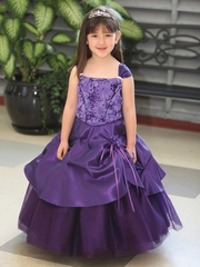 Purple Tafetta Dress w/ Sparkly Tulle Underlay