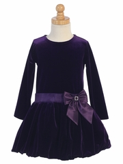 Swea Pea & Lilli Purple Velvet Bubble Dress w/ Glitter Trim & Bow