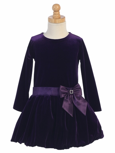 Purple Velvet Bubble Dress w/ Glitter Trim & Bow