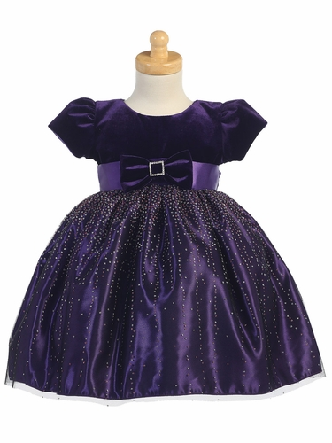 Purple Velvet w/ Purple Sparkling Tulle Dress