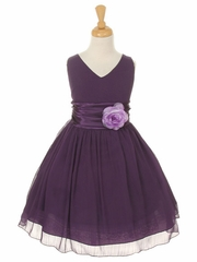 Purple Yoryu Chiffon Double V-Neck Dress
