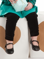rabbitmoon Black Velour Leggings w/ Side Gathers