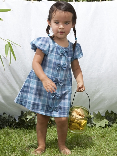 rabbitmoon Grace Capri Blue Plaid Dress w/ Bows
