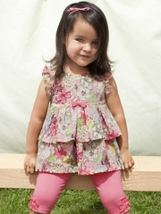 rabbitmoon Sparkle Pink Tiered Ruffle Top