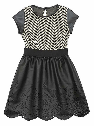 Rare Editions Black Chevron Pleather Dress