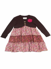 FLASH SALE - Rare Editions Brown Knit Shrug Floral Dress