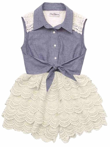 Rare Editions Chambray w/ Ivory Lace Romper & Crochet Back