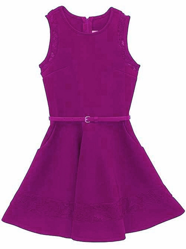 Rare Editions Fuchsia Scuba Dress w/ Lace & Belt