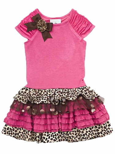 Rare Editions Fuchsia to Cheetah Dress w/ Ruffled Tiers