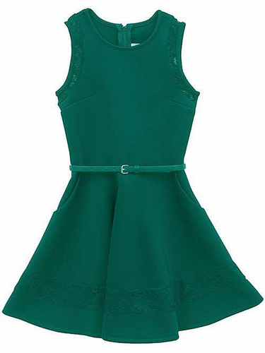 Rare Editions Green Scuba Dress w/ Lace & Belt