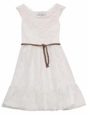 Rare Editions Ivory Lace Dress w/ Lace Crochet