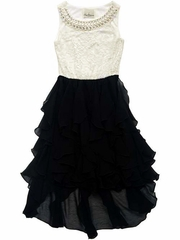 CLEARANCE - Rare Editions Ivory Lace Pearl Neckline Bodice w/ Black Chiffon Cascade High Low Dress