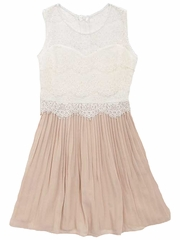 Rare Editions Ivory Lace w/ Blush Chiffon Pleated Dress