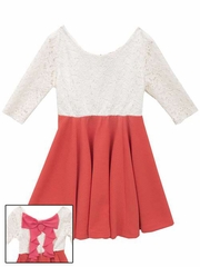 FLASH SALE - Rare Editions Knit & Lace Dress w/ Back Bow