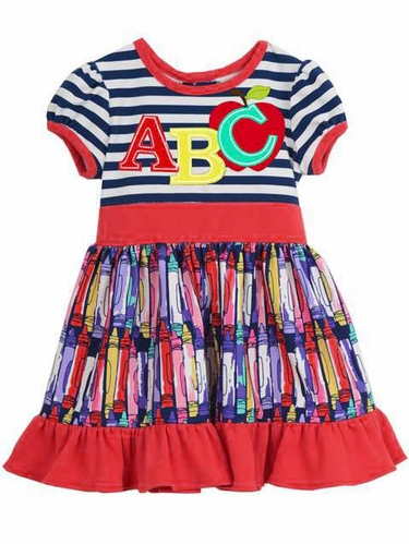 Rare Editions Navy Stripe ABC & Crayon Print Dress