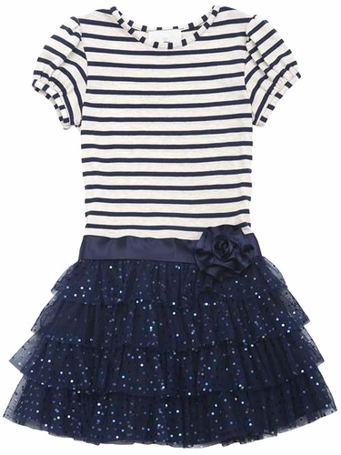 Rare Editions Navy Stripe Bodice w/ 4 Tier Mesh Bottom Dress