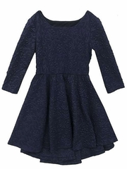 Rare Editions Navy Textured Knit High Low Dress w/ Cutout Back