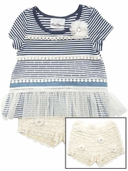 Rare Editions Navy & White Stripe Knit w/ Crochet Lace Shorts