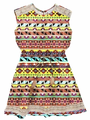 Rare Editions Orange Aztec Blouson Chiffon Dress