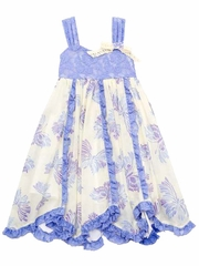 Flash Sale - Rare Editions Periwinkle / Cream Butterfly Print w/ Lace Bodice Dress