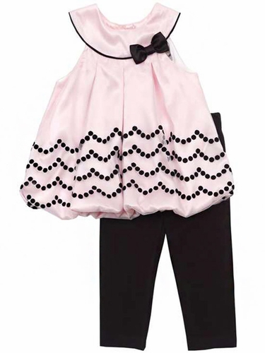 Rare Editions Pink & Black Flocked Bubble Top w/ Knit Leggings