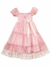 Rare Editions Pink / Cream Lace Smock Tiered Dress