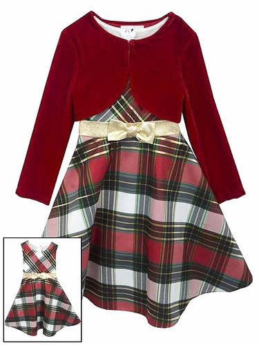Rare Editions Red Plaid Holiday Dress w/ Velvet Shrug