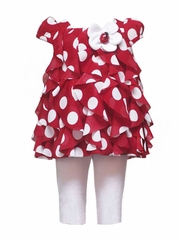 FLASH SALE - Rare Editions Red Ruffled Top w/ Polka Dots & Ladybug Set