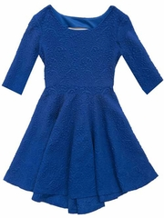 Rare Editions Royal Blue Textured Knit High Low Dress w/ Cutout Back