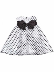 Rare Editions White & Black Flock Dot Mesh Dress w/ Bow