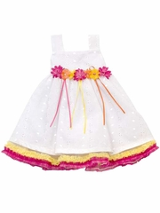 Rare Editions White Eyelet Dress w/ Fuchsia & Yellow Accents