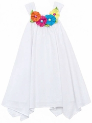 Rare Editions White Woven U-Neck Dress w/ Multi Flower Trim