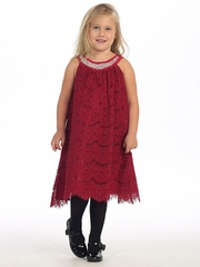 Raspberry Red Lace Dress w/ Jeweled Neckline
