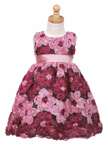 Rasberry Ribbon Embroidered Tulle Dress